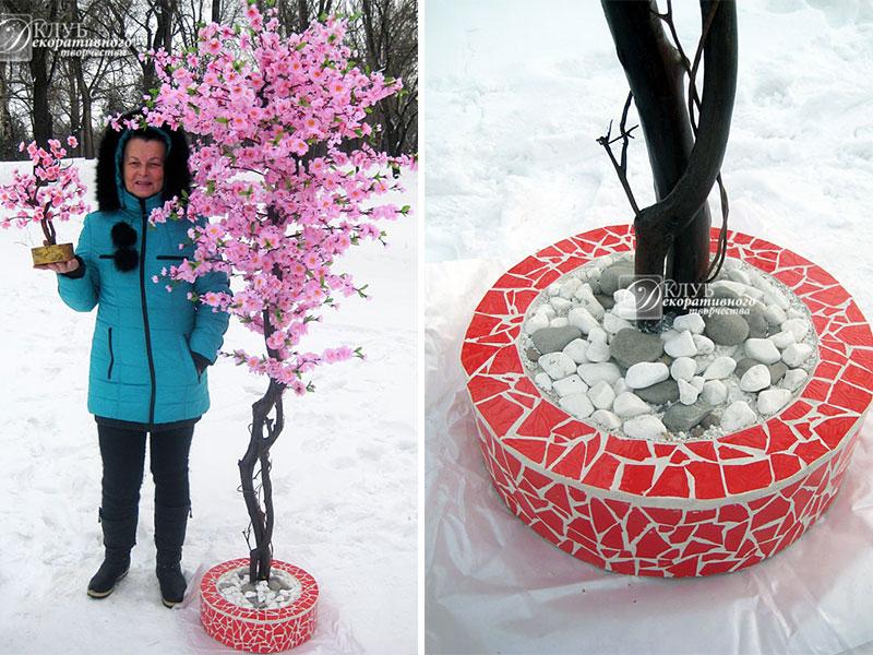 Дерево сакуры из веток
