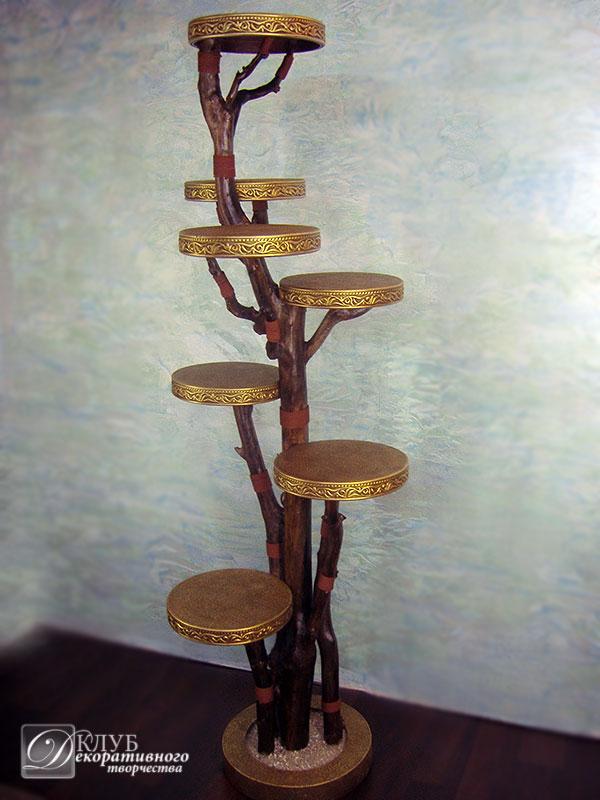 Подставка для цветов напольная высокая дерево своими руками